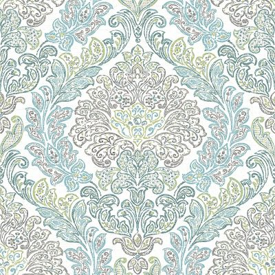 2702 22742 Fontaine Teal Damask Mirabelle Street Prints Wallpaper