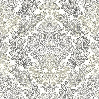 2702 22744 Fontaine Grey Damask Mirabelle Street Prints Wallpaper