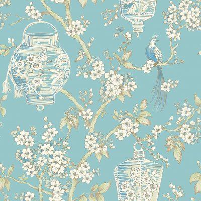 2702 22759 Serenity Turquoise Lanterns Mirabelle Street Prints Wallpaper