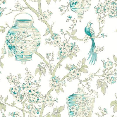 2702 22760 Serenity Teal Lanterns Mirabelle Street Prints Wallpaper
