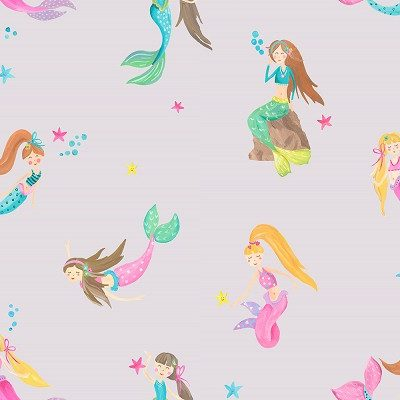 Mermaid World Lilac 696102 Arthouse Wallpaper