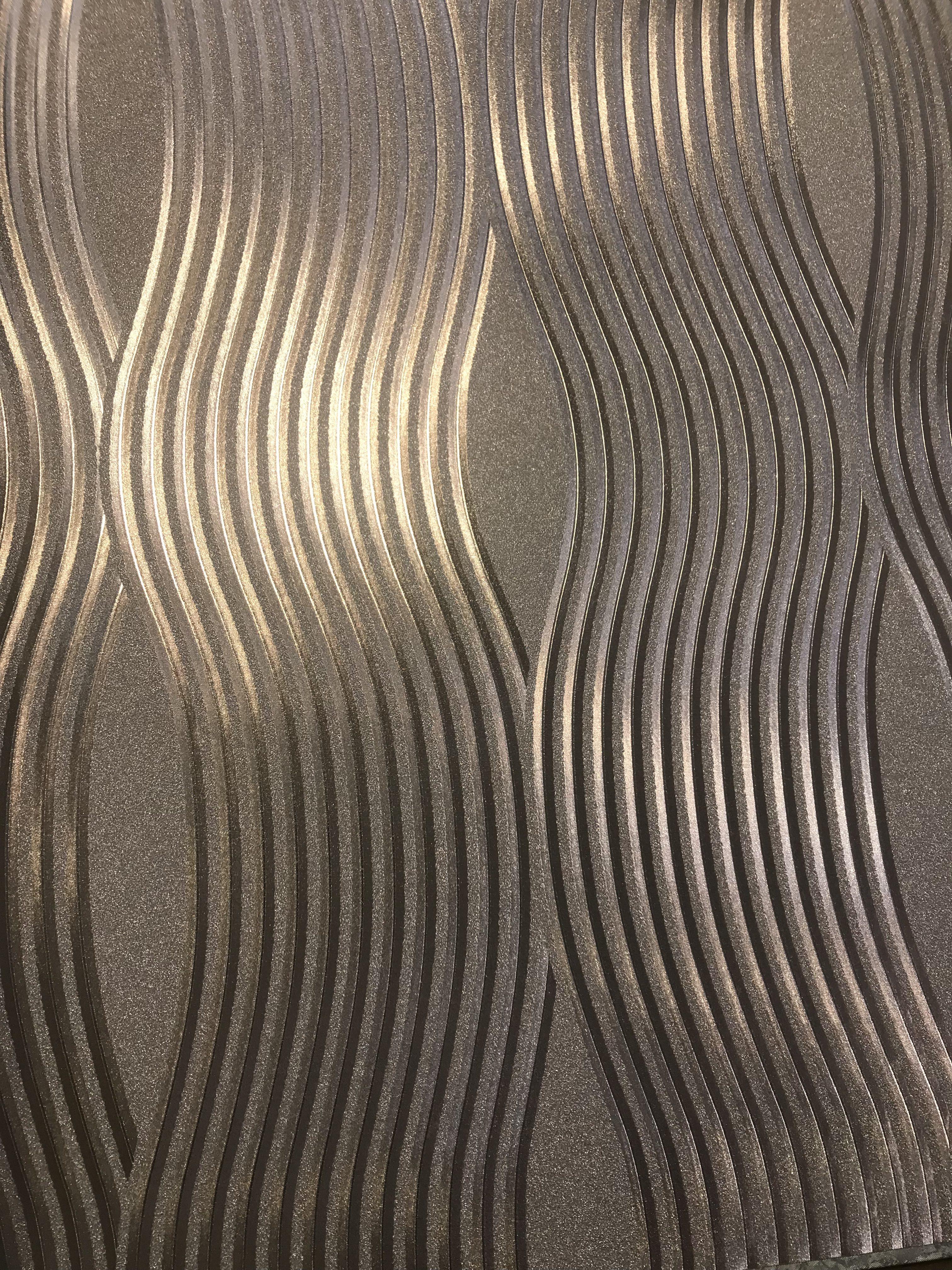 Rose Gold Foil Metallic Wave Wallpaper Sales
