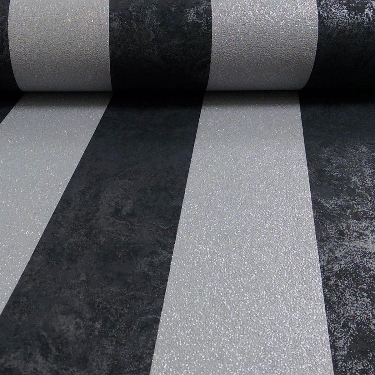Carat Glitter Stripe Wallpaper Black And Silver P S 13346 40