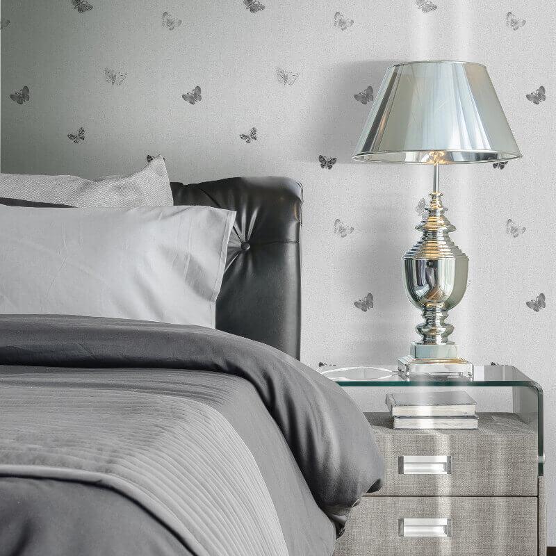 Amelia Butterfly Silver Metallic Wallpaper 701424 Muriva