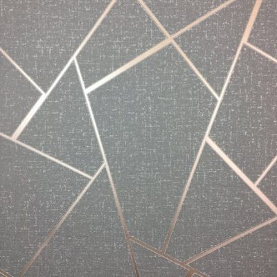 Quartz Fractal Wallpaper Charcoal and Copper Fine Decor FD42283