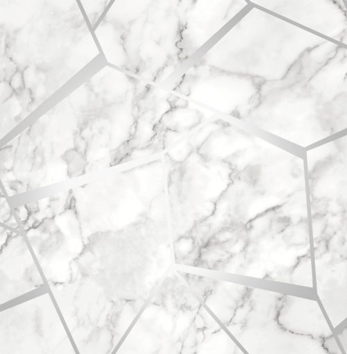 Fractal Geometric Marble Wallpaper Silver - Fine Decor FD42263