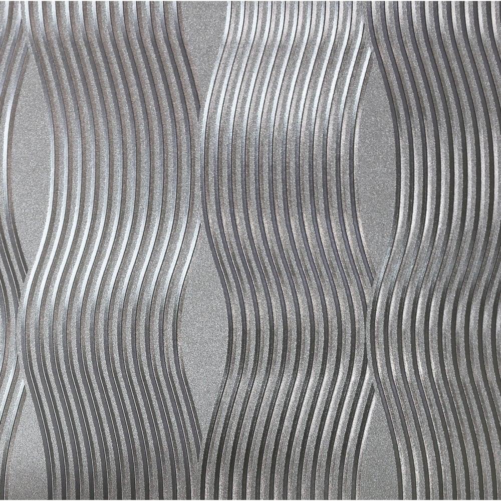 Arthouse Wave Silver Foil Metallic Wallpaper 294501