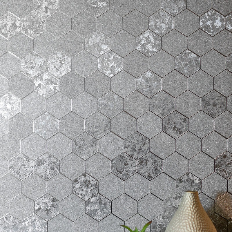 Arthouse Honeycomb Silver Foil Metallic Wallpaper 294700
