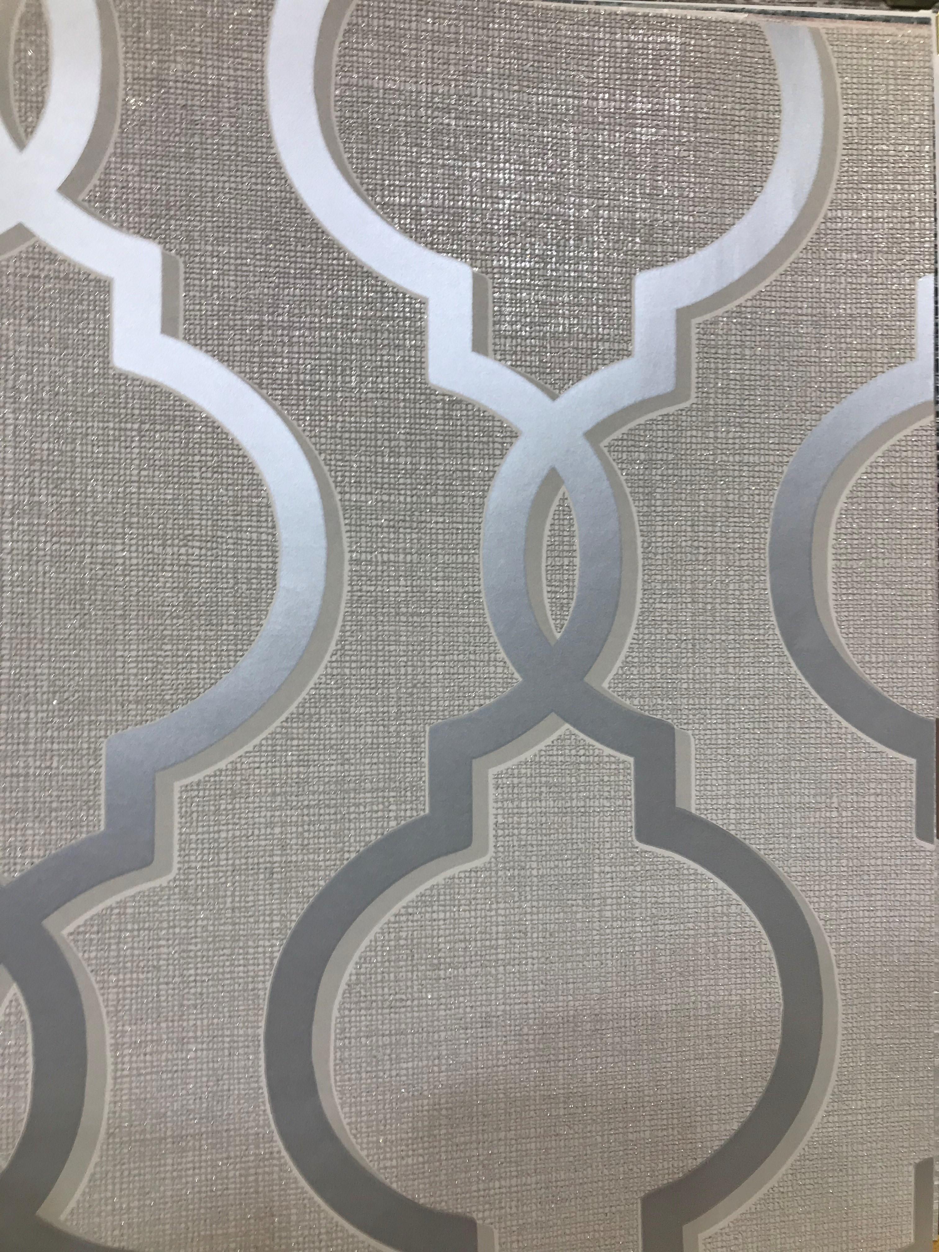 Holden Links Laticia Silver Trellis Wallpaper 65490