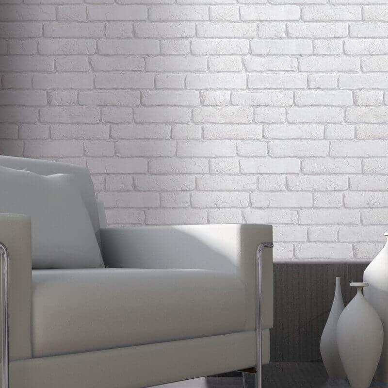 Muriva Bluff White Brick Wallpaper J30309 | Wallpaper Sales