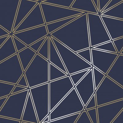 Paladium Geometric Wallpaper Navy / Gold Holden 90112