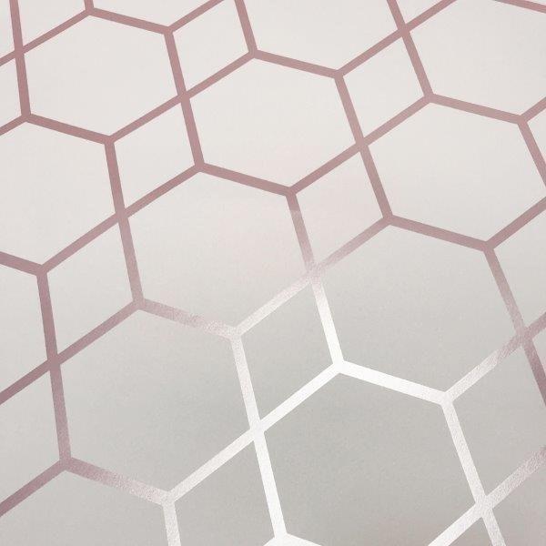 Geometric Hexagon Rose Gold Wallpaper