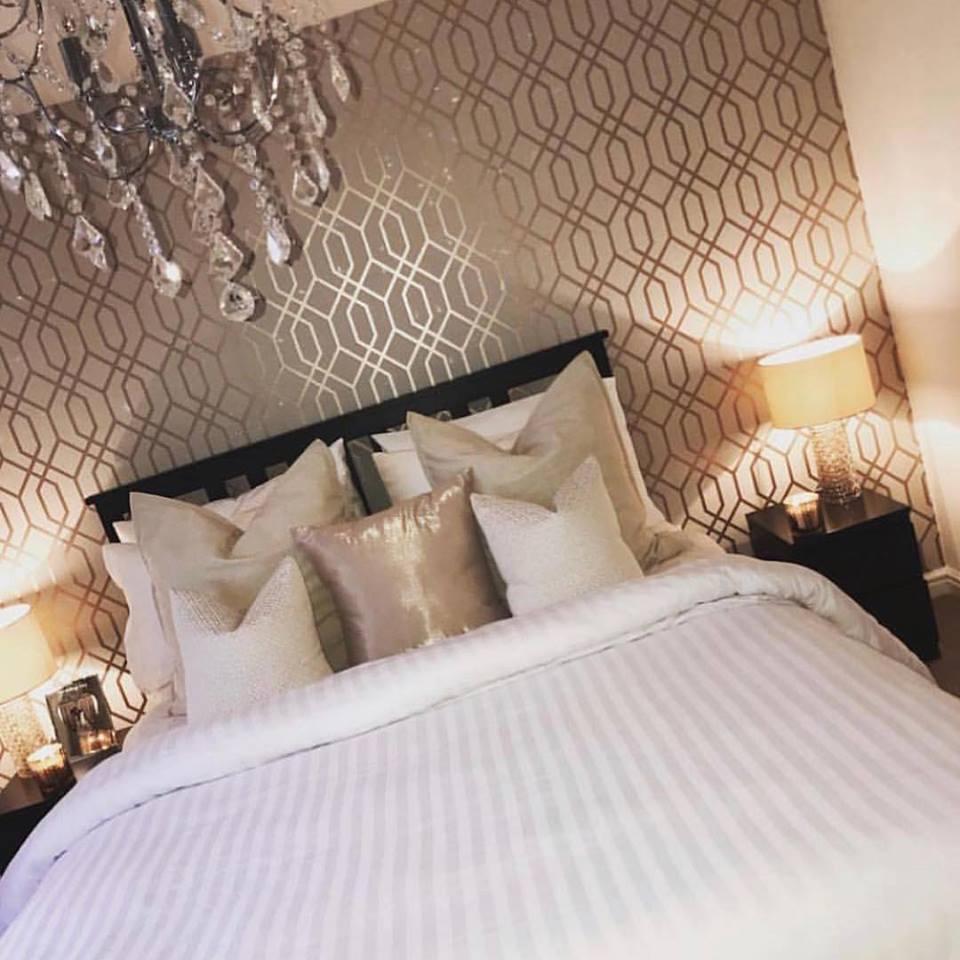 Rose Gold Quartz Trellis Wallpaper Sales
