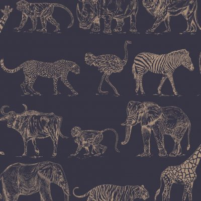 Safari Navy Animal Print Wallpaper 104893