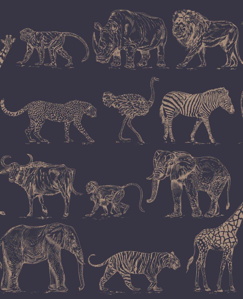 Safari Navy Animal Print Wallpaper 104893 Wallpaper Sales