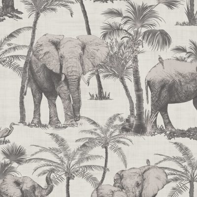 Elephant Grove Charcoal Wallpaper 610702