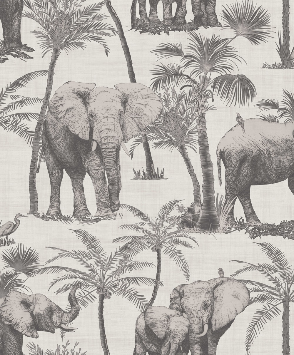 Elephant Grove Charcoal Wallpaper 610702