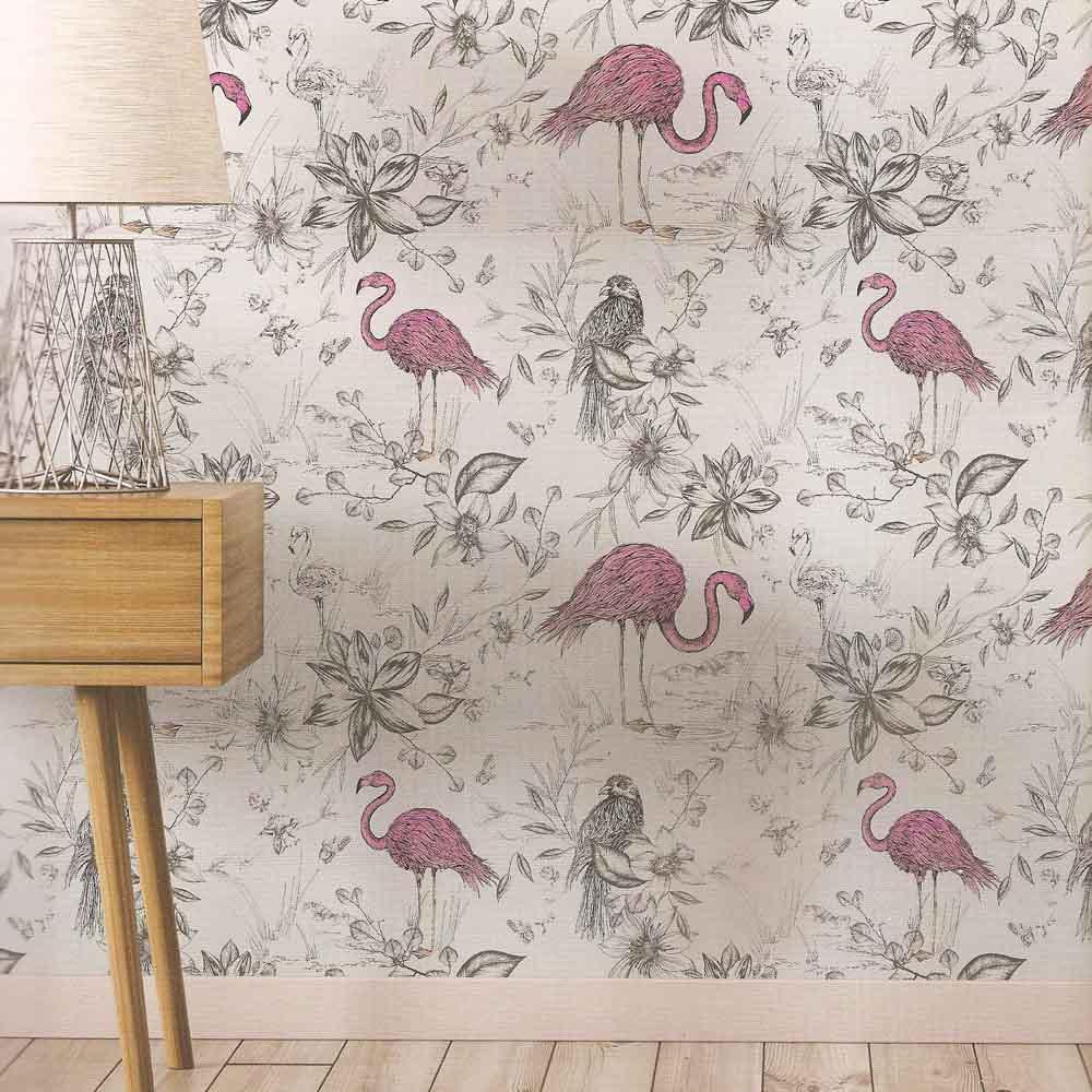 Pink Flamingo Sketched Wallpaper Wallpaper Sales