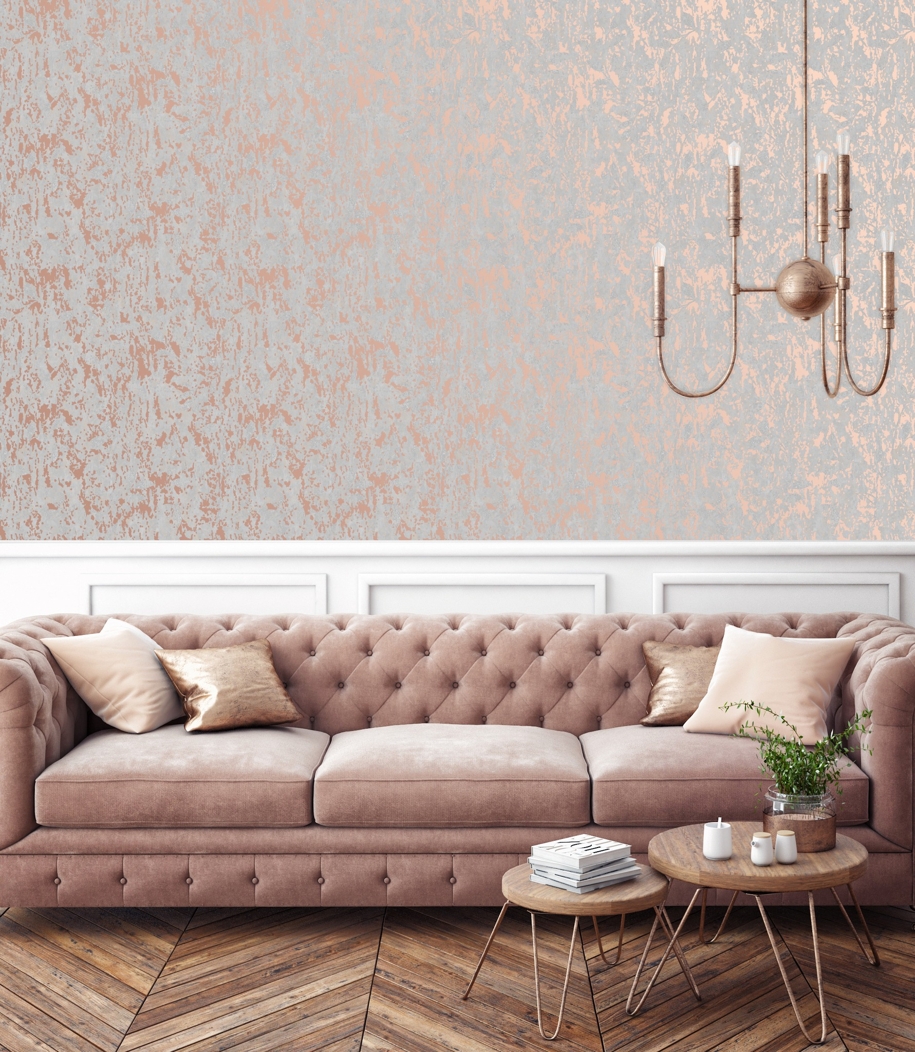 Rose Gold Distressed Industrial Texture Wallpaper Wallpaper Sales