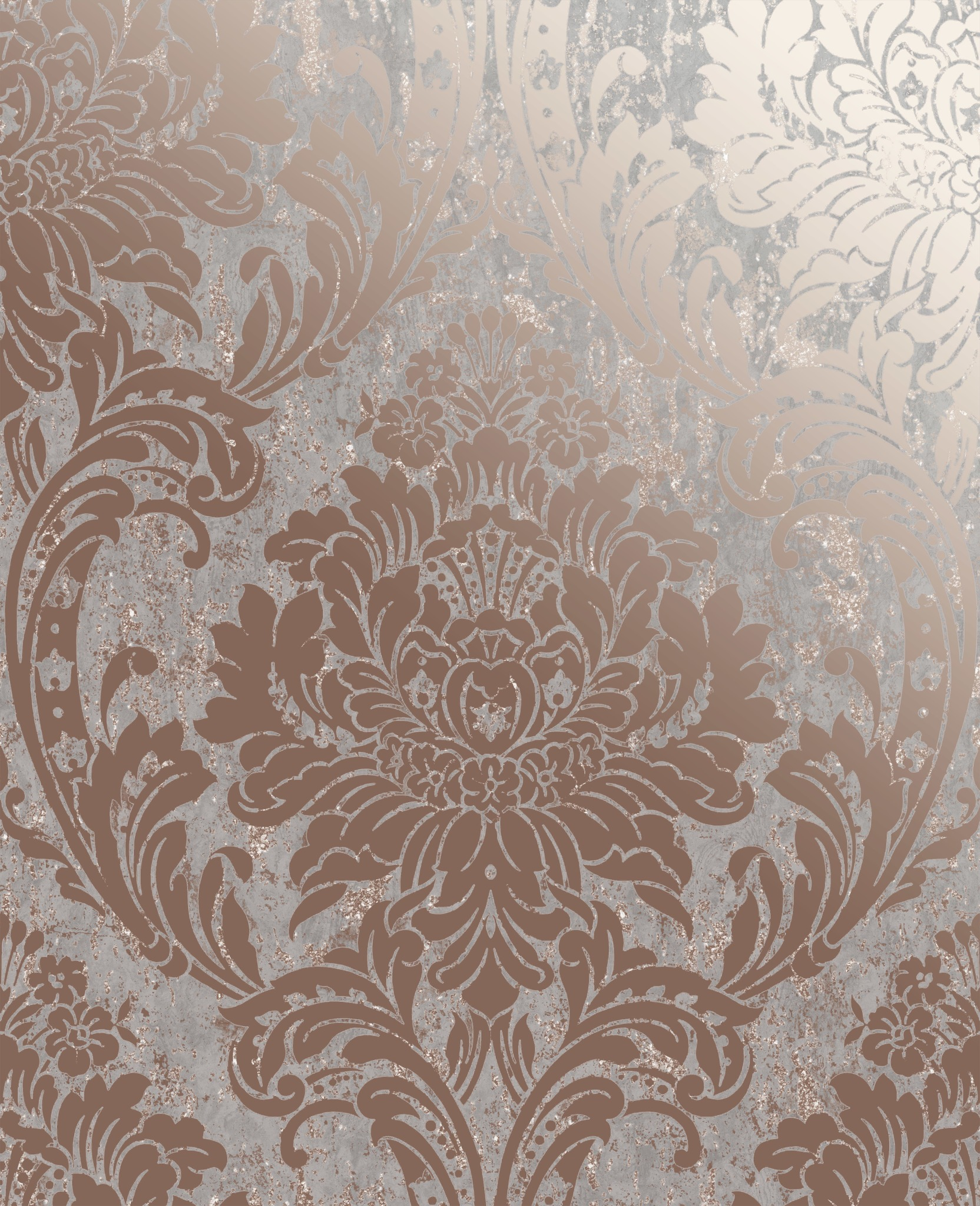 Rose Gold Distressed Damask Wallpaper Wallpaper Sales