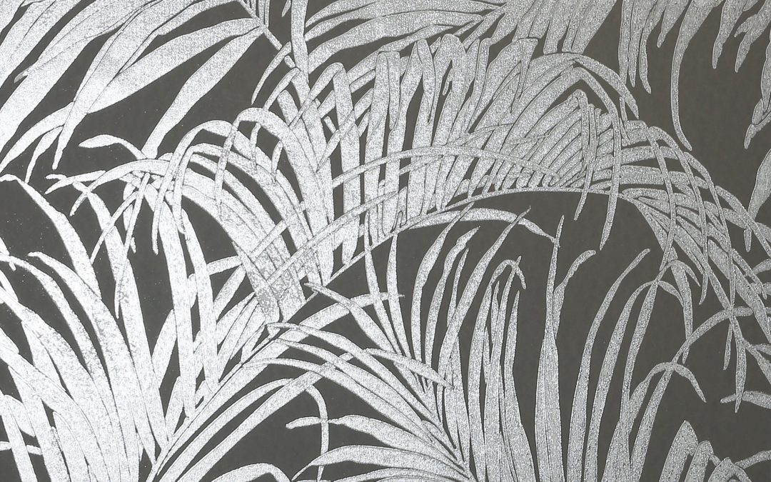 Kiss Foil Palm Charcoal Metallic Grey 903305 wallpaper