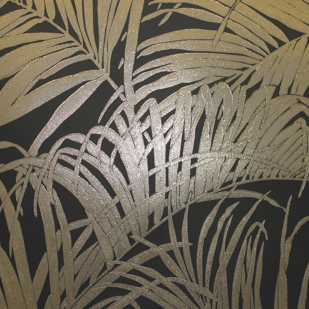 Kiss Foil Palm Metallic Black Bronze 903202 Wallpaper
