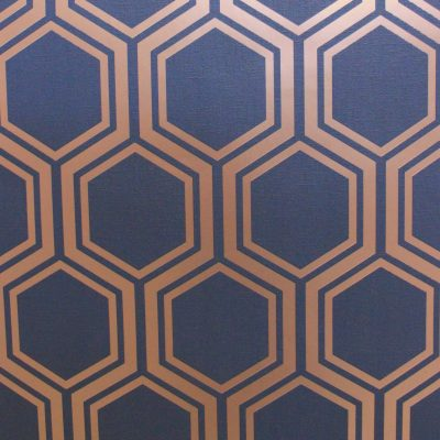 Luxe Hexagon Geometric Navy Gold Arthouse Wallpaper 906604