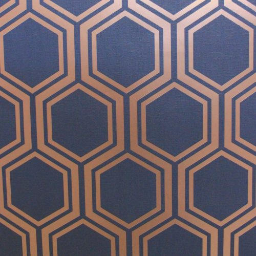 Luxe Hexagon Geometric Navy Gold Arthouse Wallpaper 906604