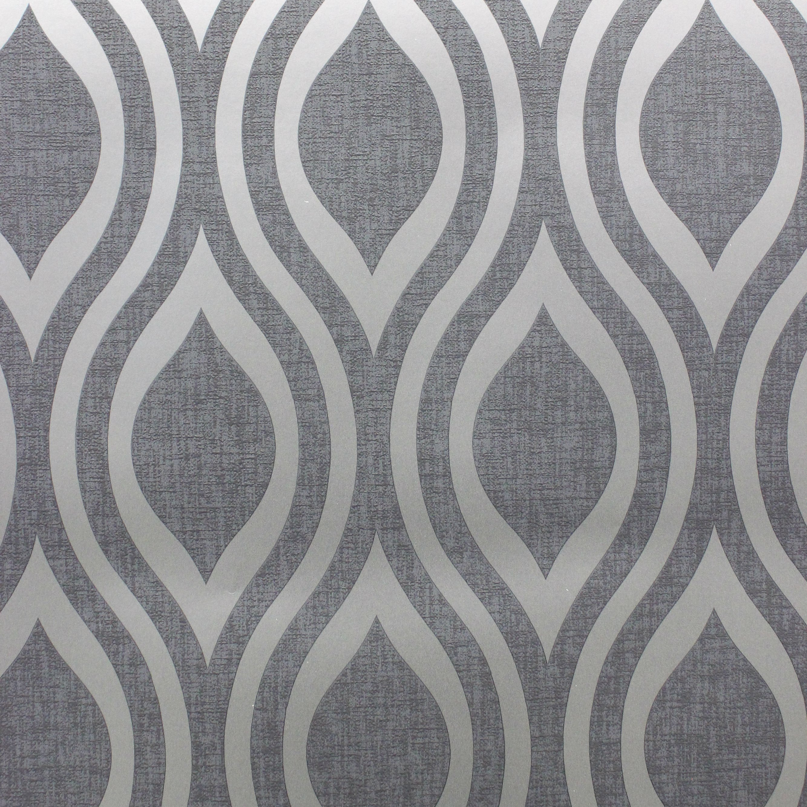 Luxe Ogee Gunmetal Grey Wave Arthouse 910202 Wallpaper