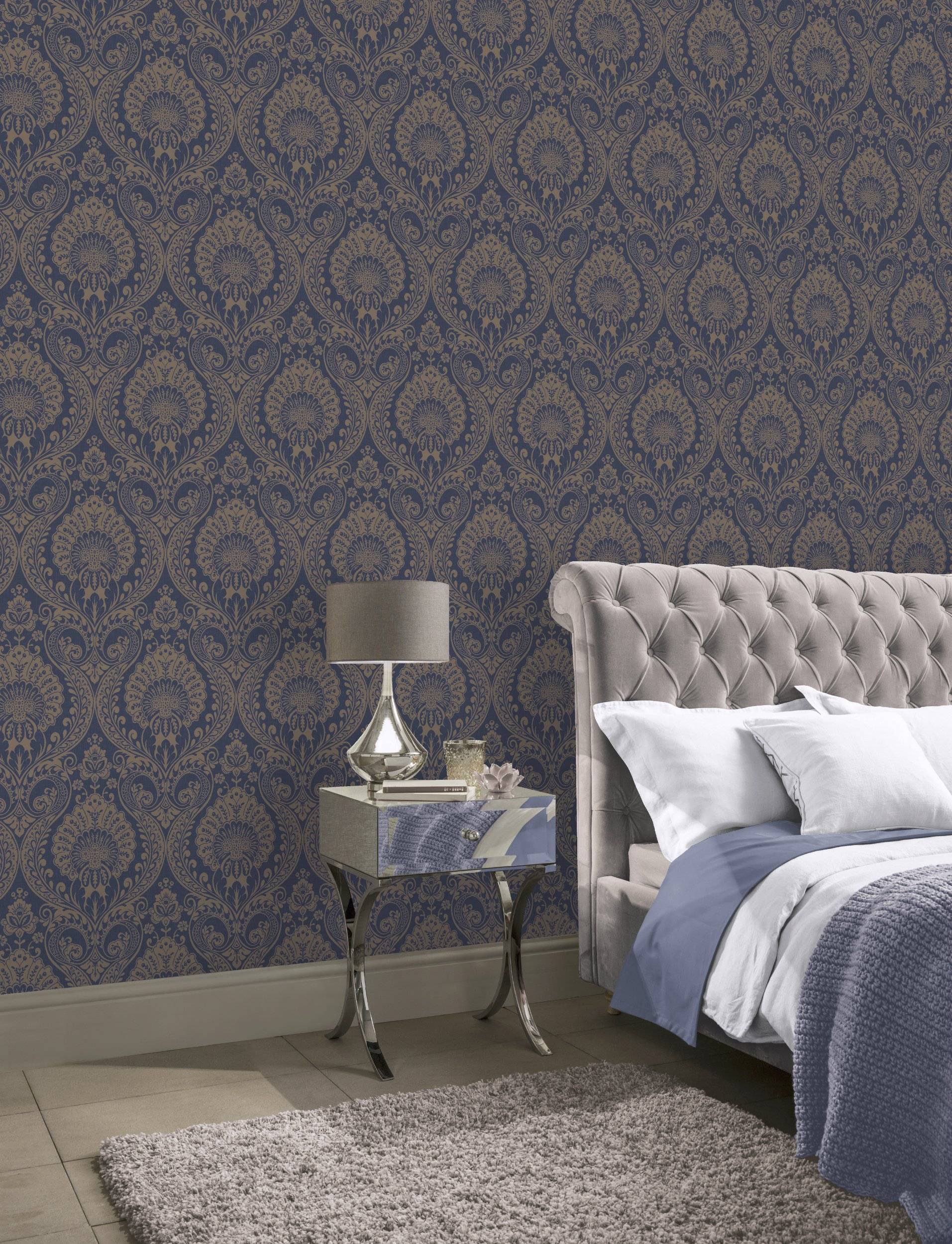 Decoris Damask Navy Gold Arthouse 910308 Wallpaper Wallpaper Sales
