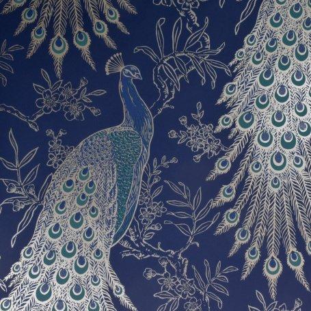 Rasch Peacock Navy Wallpaper 215700