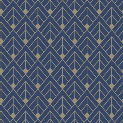 Navy Gold Art Deco Glitter 305517 Rasch Wallpaper