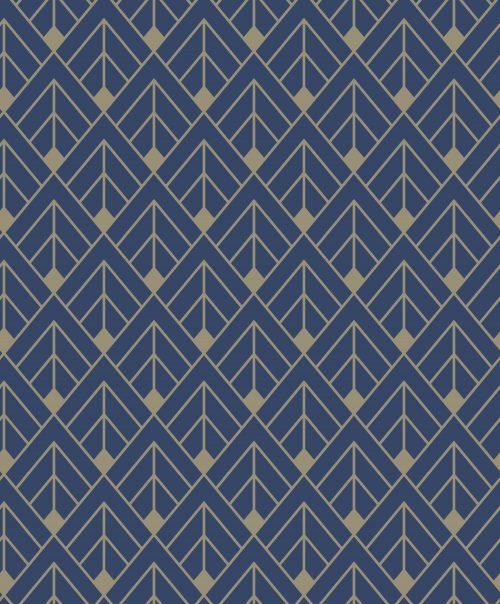 Navy Gold Art Deco Glitter 305517 Rasch Wallpaper