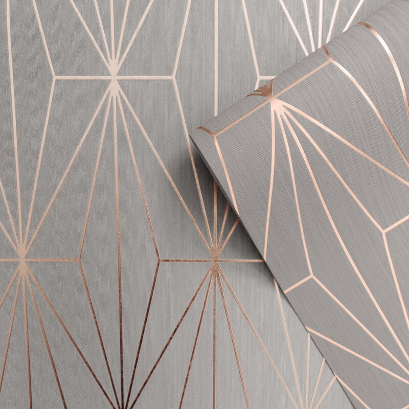 Kayla Metallic Geometric Wallpaper Rose Gold Grey Muriva ...