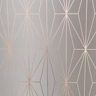 Kayla Metallic Geometric Wallpaper Rose Gold Grey Muriva 703013