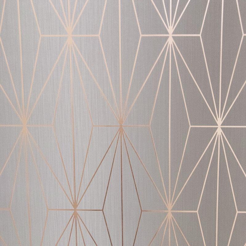Kayla Metallic Geometric Wallpaper Rose Gold Grey Muriva 703013