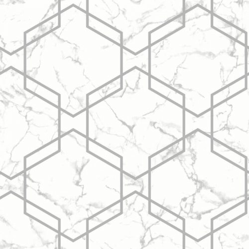 Geometric Grey/Silver Marble 90710