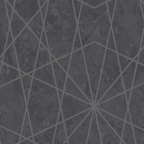 Cascade Geometric Motif Black A38203 Wallpaper
