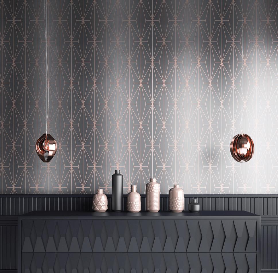 Kayla Metallic Geometric Wallpaper Rose Gold Charcoal