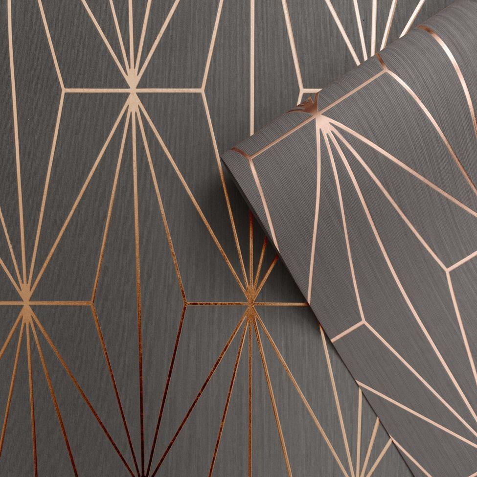 Kayla Metallic Geometric Wallpaper Rose Gold Charcoal Muriva 703015