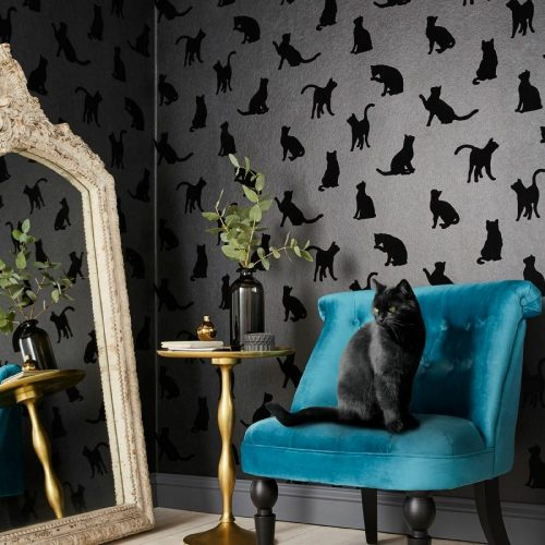Laurence Llewelyn-Bowen Roccocat Black Flocked Designer Wallpaper