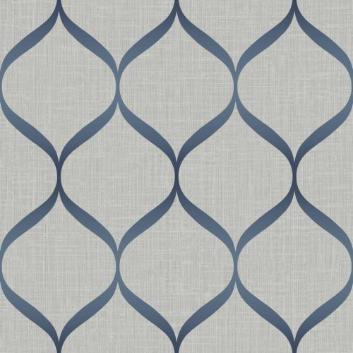 Pear Tree Geometric Trellis Navy Metallic Wallpaper UK21212