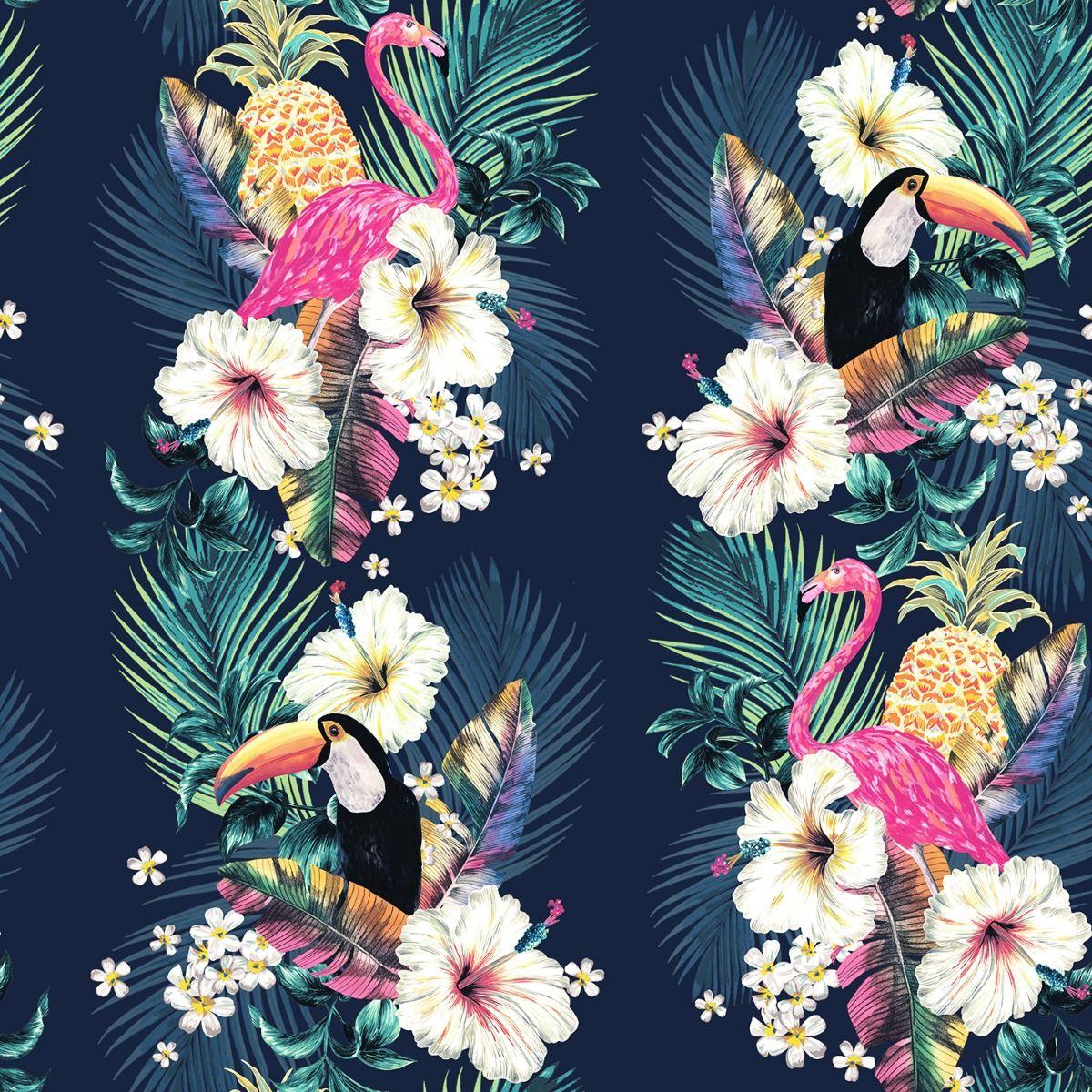 Maui Tropical Wallpaper Multi Ink Blue Accessorize 274706
