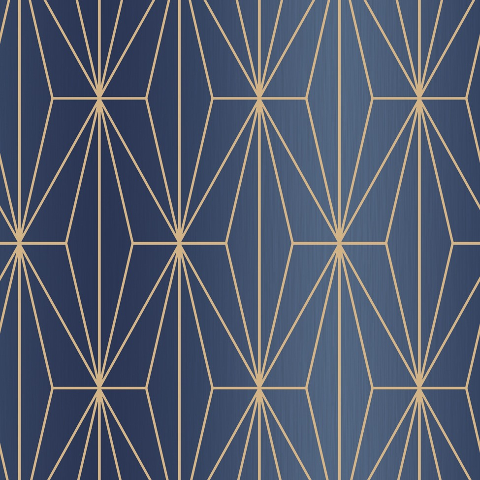 Kayla Metallic Geometric Wallpaper Navy Bronze Muriva 703016