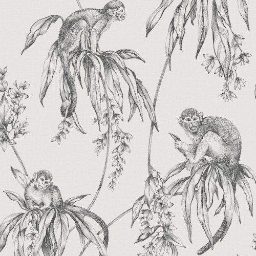 Easy Saïmiri Monkey Anthracite Wallpaper