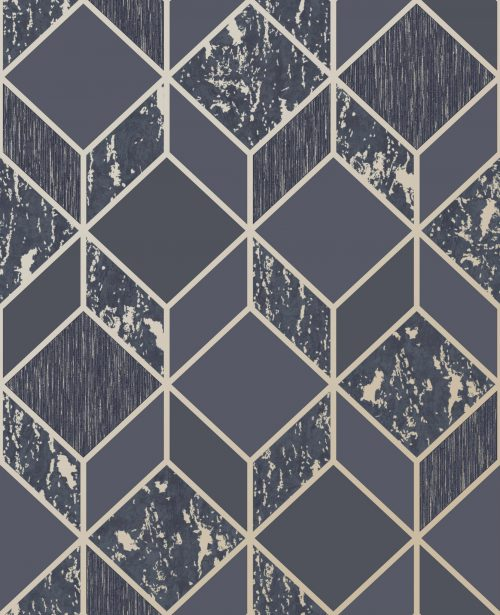 Distressed Vittoria Navy Geo Wallpaper