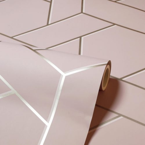 Parquet Geo Pink/Gold Metallic Wallpaper