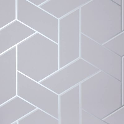 Parquet Geo Silver/Grey Metallic Wallpaper