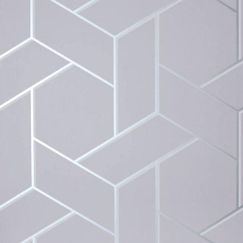 Parquet Geo Silver/Grey Metallic Wallpaper