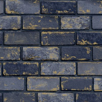 Arthouse Metallic Brick Navy 692200 Wallpaper